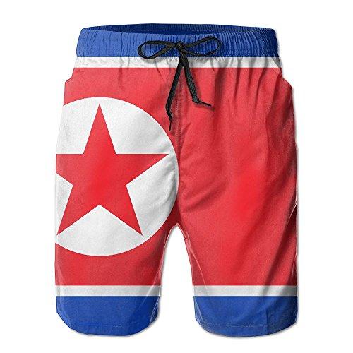 Leisue North Korea Large Flag Quick Dry Elastic Lace Boardshorts Beach Shorts Pants Swim Trunks Fashion Mens Swimsuit with Pockets