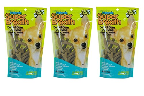 Fido Super Breath Dental Care Bones For Dogs, Made With Kelp, Parsley and Chlorophyll - Naturally Freshens Breath, Reduces Plaque and Whitens Teeth - 21 Mini Treats Per Pack, Pack of 3