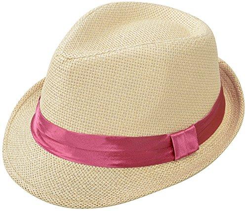 Simplicity Men / Women's Summer Short Brim Straw Fedora Hat w/ Solid Fushia Band