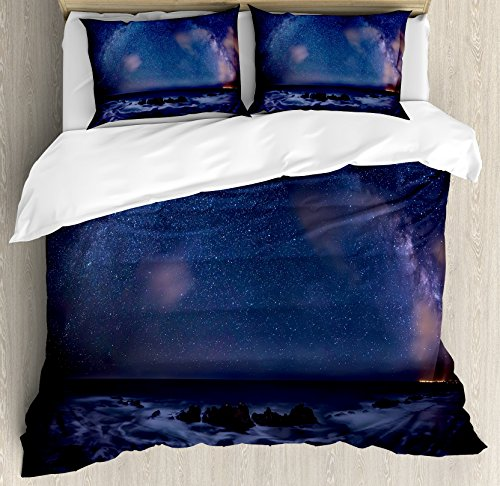 Space Duvet Cover Set by Ambesonne, Massive Milky Way over the Sea Appears to Be a Dark Matter Halo Spread Out in Solar Center, 3 Piece Bedding Set with Pillow Shams, Queen / Full, Blue by Ambesonne