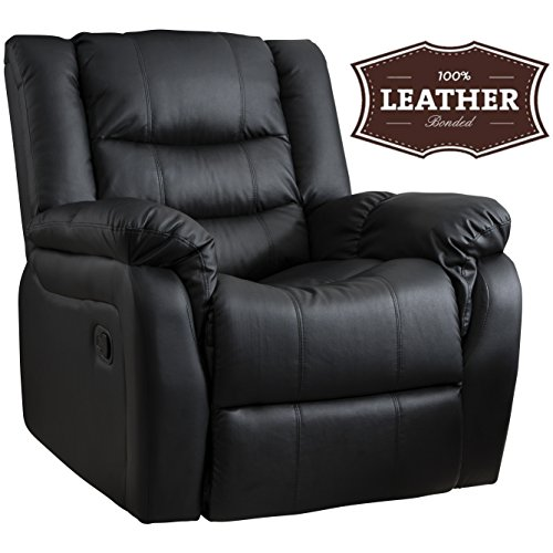 Bonded Leather Recliner Armchair | Home Lounge Reclining Chair | Cinema & Gaming | Black