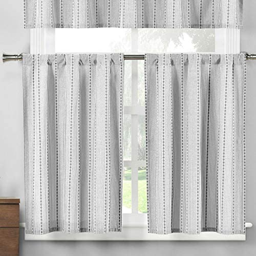 Home Maison – Kylie Medallion Striped Kitchen Tier Valance Set Small Window Curtain for Cafe, Bath, Laundry, Bedroom – Black White