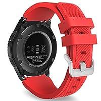 MoKo Gear S3 Frontier /Banda de reloj clásica, Correa deportiva de reemplazo de silicona suave para Samsung Gear S3 Frontier /S3 Classic /Galaxy Watch 46mm /Moto 360 2da generación 46mm Smart Watch, ROJO