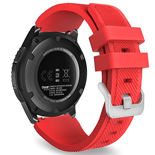MoKo Band Compatible with Samsung Gear S3 Frontier/Classic/Galaxy Watch 46mm/Huawei Watch GT 46mm/Ticwatch pro/S2/E2, Silicone Sport Strap Fit 22mm Band, RED