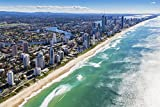 "Aerial View Of Gold Coast In Queensland Australia Art Poster 28"" X 18"""