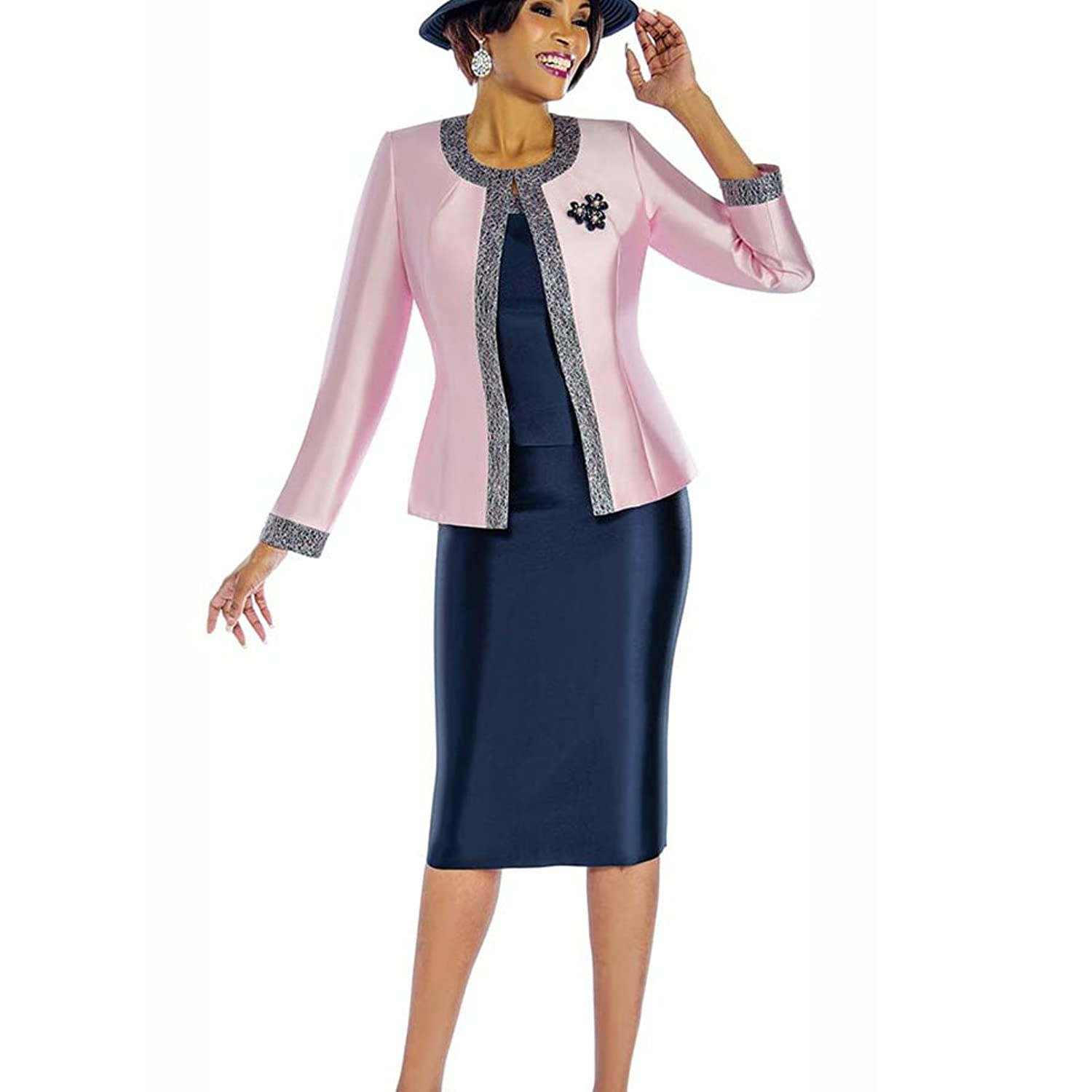 Kueeni Women Church Suits With Hats Dress Suit For Ladies Formal