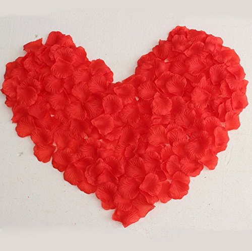Fabric Silk Flower Rose Petals Wedding Party Decoration Table Confetti Package of 5000 (Red)