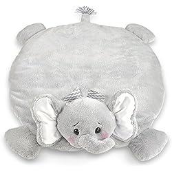 Bearington Baby Lil' Spout Belly Blanket, Gray Elephant Plush Stuffed Animal Tummy Time Play Mat