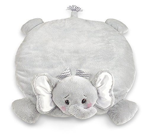 Bearington Baby Lil' Spout Belly Blanket, Gray Elephant Plush Stuffed Animal Tummy Time Play Mat (Elephant Plush 11)