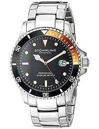 Stuhrling Original Men's 8326B.331157 Aquadiver Regatta Elite Swiss Quartz Diver Date Orange Bezel Watch