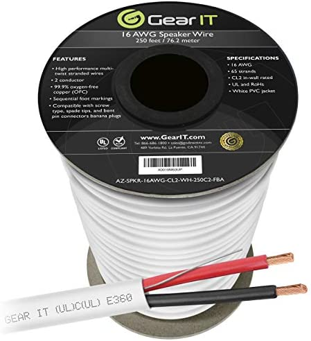 16 AWG CL2 OFC in Wall Speaker Wire, GearIT Professional Collection 16 AWG Gauge (250 Ft / 76.2 Meters/White) OFC Oxygen Free Copper UL CL2 Rated in-Wall Speaker Wire Cable for Dwelling Theater and Automotive Audio