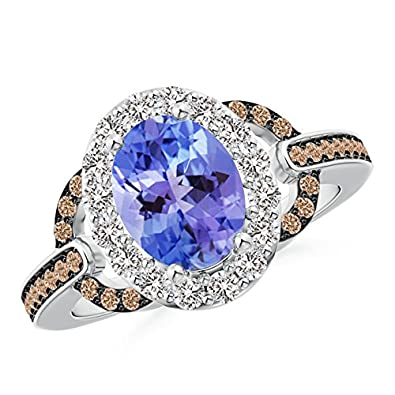Angara Oval Tanzanite Halo Ring with Brown Diamond Accents ry9ud