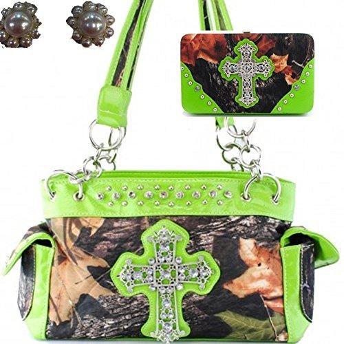 - Western Camo Cross Shoulder Bag Camouflage Handbag Rhinestone Purse With Matching Wallet (GREEN)