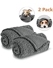 AIPERRO 2 Pack Premium Fluffy Fleece Dog Blanket, Soft and Warm Gray Pet ThrowBlankets Bed Couch Car Seat Cover Washable for Puppies and Cats, Large