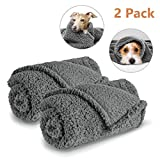 AIPERRO 2-Pack Premium Fluffy Fleece Dog Blanket, Soft and Warm Gray Pet Blanket Washable Puppy Cat Blankets and Throws, Small ...