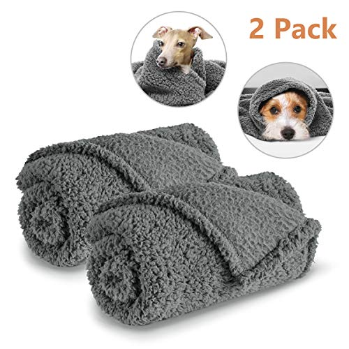 AIPERRO 2 Pack Premium Fluffy Fleece Dog Blanket, Soft and Warm Gray Pet Throw Blankets Bed Couch Car Seat Cover Washable for Puppies and Cats, Large
