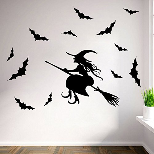 Halloween Flying Witch on Broom Bats PVC Lettering Decal Home Decor Window Bedroom Living Roon Wall Stickers Wallpaper (Halloween 2 Filme Completo)