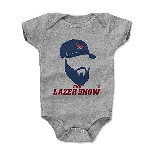 (500 LEVEL Dustin Pedroia Baby Clothes, Onesie, Creeper, Bodysuit 6-12 Months Heather Gray - Boston Baseball Baby Clothes - Dustin Pedroia Silhouette B)