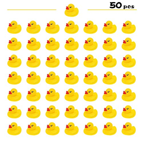 Yutin Mini Yellow Rubber Ducky Float Duck Baby Bath Toy for Kids 50 Pack, Baby Shower Time Birthday Party Favors