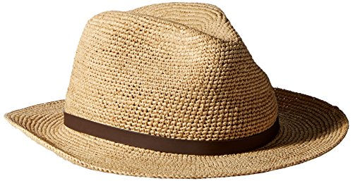Scala Men's Fine Crochet Raffia Safari With Leather, Natural, Small/Medium (Scala Leather)