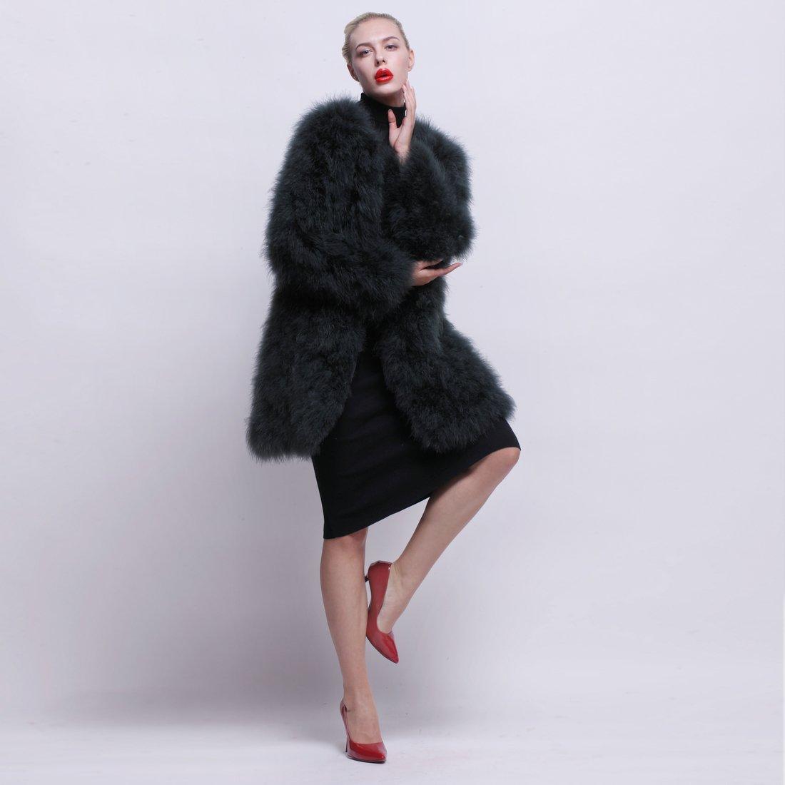 URSFUR Women Winter Jacket Real Ostrich Feather Fur Coat Opal Green XL by URSFUR (Image #6)