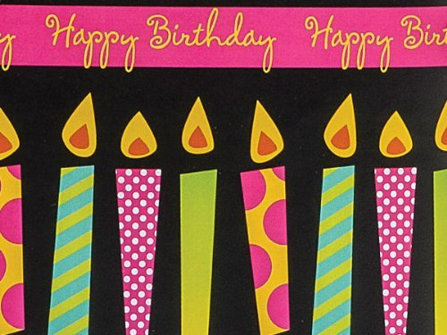 Bright Candles Birthday Gift Wrap Paper 16 Foot Roll