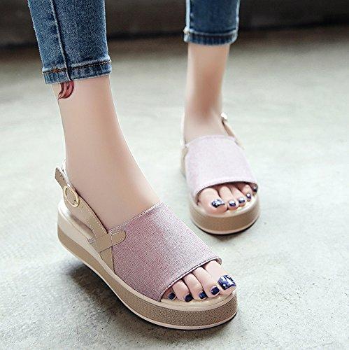 RUGAI-UE Sandalias de verano para estudiantes hebilla inferior grueso cómodos zapatos planos casual Pink