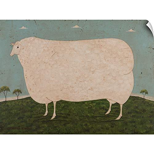 Warren Kimble Wall Peel Wall Art Print Entitled Sheep-On Blue 36
