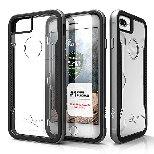 Zizo Shock Series Compatible with iPhone 8 Plus case Military Grade Drop Tested with Tempered Glass Screen Protector iPhone 7 Plus case Gray