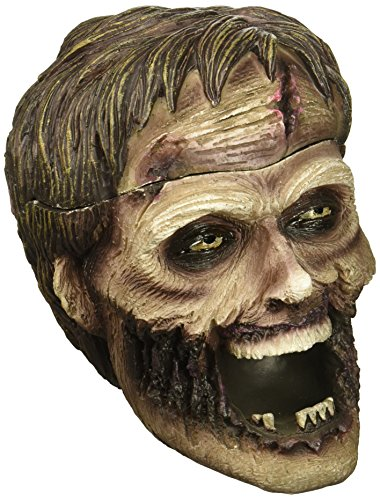 Evil Undead Zombie Head Ashtray Statue with Cover for Spooky Graveyard Halloween Party Decorations and Decorative Medieval & Gothic Decor Sculptures As Whimsical Novelty Gifts by Home-n-Gifts ()
