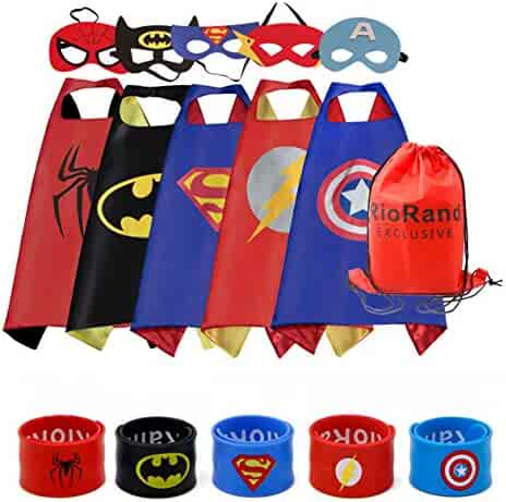 RioRand Dress Up Costumes Cartoon Satin Capes Set with Felt Mask and Exclusive Bag for Kids Boys