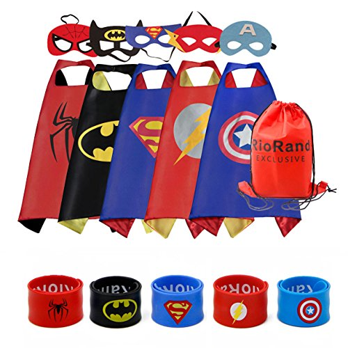 RioRand Dress Up Costumes Cartoon 5 Satin Capes Set with 5 Wristbands and 1 Exclusive Bag -