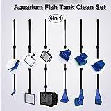 XHome 2.8 Ft Adjustable Aquarium Fish Tank Clean Set, Aquarium Cleaning Kit for Fish Tank Long Handle Fish Tank Brush Functional Six Cleaning Tools for Aquarium Telescopic Cleaning 6-in-1