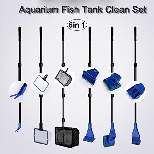 XHome 2.8 Ft Adjustable Aquarium Fish Tank Clean Set, Aquarium Cleaning Kit for Fish Tank Long Handle Fish Tank Brush Functional Six Cleaning Tools for Aquarium Telescopic Cleaning 6-in-1 by XHome
