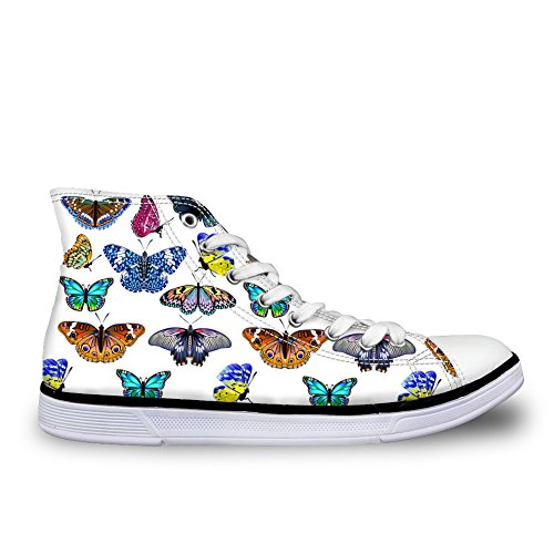 Pattern 8 Top Ladies Butterfly High FOR Lace Women Training Stylish U Flat Butterfly DESIGNS Shoes Canvas Up Sneakers ffTzw0