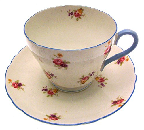 *shelley Blue Rim Pink Rose Breakfast Cup and Saucer