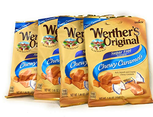 (Werther's Chewy Caramels Candies Original Sugar Free, 1.46 Ounce Pack of 4)