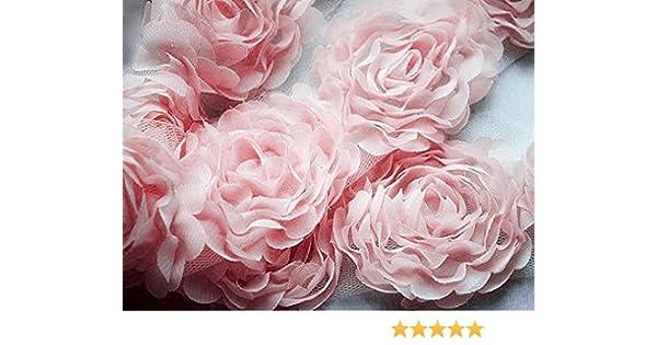 3b8aa01d51841 2 Yards Chiffon Rose Lace Trim Applique Pink Bridal Wedding Camellia  Ruffled Flower Craft Supply FREE Combine Shipping US LA022