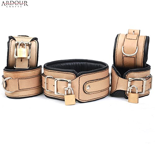 Natural Cow Hide Leather Wrist, Ankle Cuffs and Neck Collar Set 5 Pieces Padded Cuffs Real & Authentic (Locking Ankle Cuff)