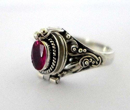 Poison Ring Bali Sterling Silver Locket Ring sythetic Ruby July Birthstone AR04