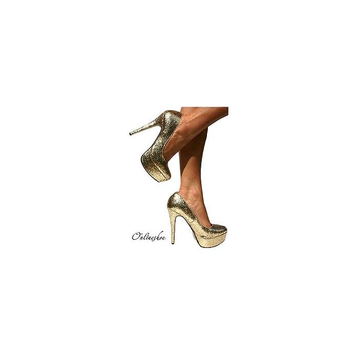 b13fbdcd616f Onlineshoe Women s Sparkly Gold Glitter Platform Stiletto Heels Party Prom  Shoes UK 5 - EU38  Amazon.co.uk  Shoes   Bags