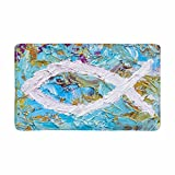 InterestPrint Colorful Christian Fish Christian Symbol Doormat Anti-Slip Entrance Mat Floor Rug Indoor/Outdoor/Front Door Mats Home Decor, Rubber Backing Large 30''(L) x 18''(W)