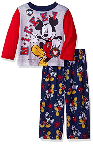Disney Boys' Toddler Mickey Mouse 2-Piece Fleece Pajama Set, Red/Black -