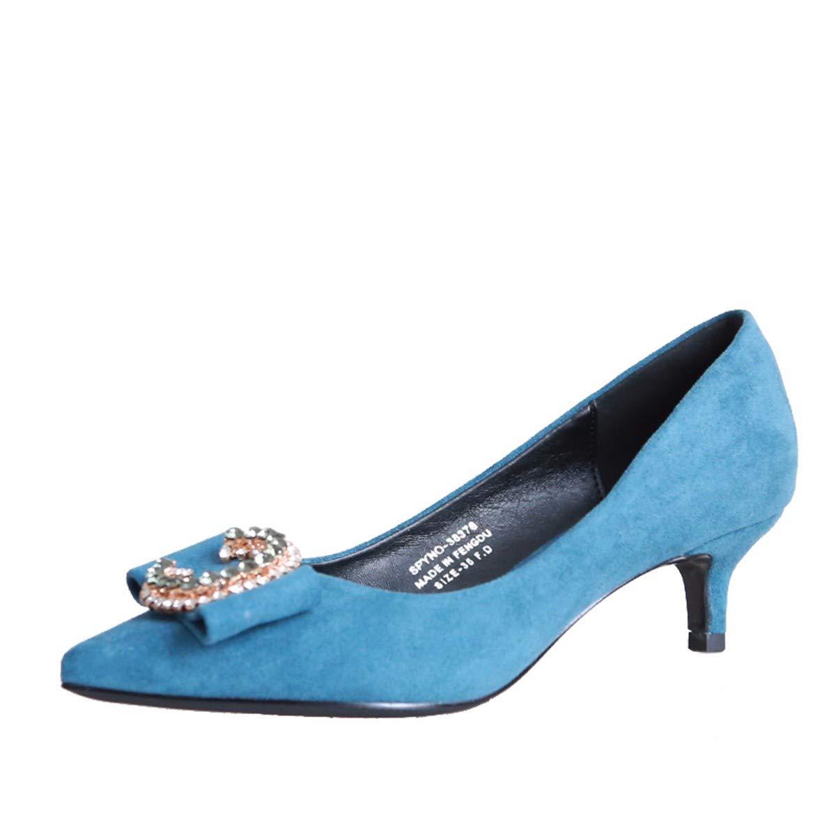 KPHY Damenschuhe/Fliege Mitten Im Herbst Wildleder Sagte Ferse Schuhe Mode Bohrer Flachen Mund Schöne Schuhe.36 Blau
