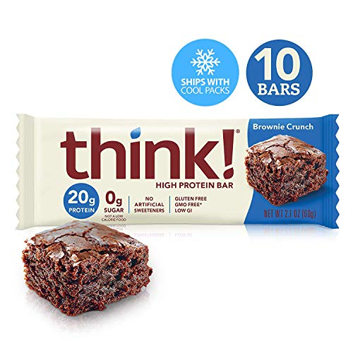 Think! (thinkThin) High Protein Bars - Brownie Crunch, 20g Protein, 0g Sugar, No Artificial Sweeteners, Gluten Free, GMO Free*, 2.1 oz bar (10Count-Packaging May Vary) (Best Healthy Protein Bars)