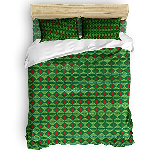 Elfantasy Full Size 4 Piece Duvet Cover Set with Zipper for Kids Adult Bedding Sets,Green Lattice Christmas Pattern Comforter Cover Sets,Include 1 Duvet Cover+1 Bed Sheets+2 Pillow ()