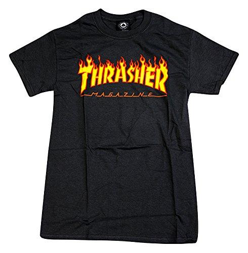 Thrasher-Flame-Short-Sleeve-Skateboard-T-Shirt-Black