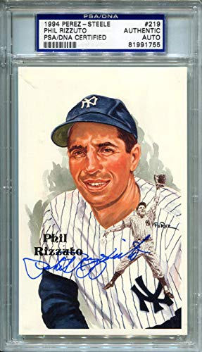 1994 Phil Rizzuto Signed Perez Steele Postcard #219. PSA Authentic