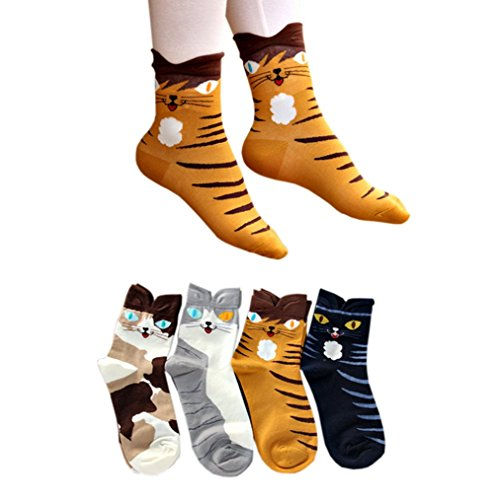 4-Pairs-Soft-Comfortable-Novelty-Cartoon-Aminal-Crew-Pattern-Cotton-Socks