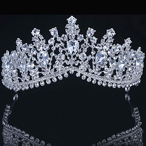 Wedding Bridal Tiara Princess Crown Bridal Headband Crowns and Tiaras Crystal Tiara Pageant Crowns Tiara Headband Crystal Crown Rhinestone Crown for Girls and Women (Silver white (no earring)) (Toddlers And Tiaras All Around The World Pageant)